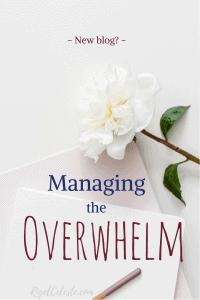 white peony, pen, desk, managing overwhelm