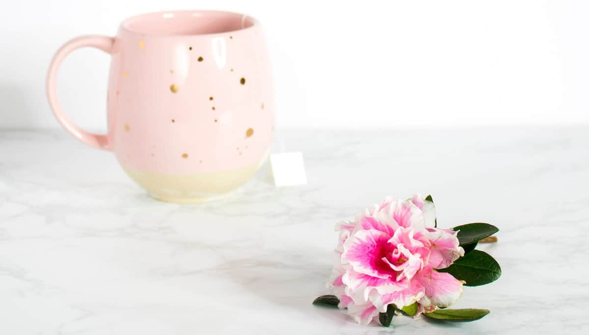 new blogger burnout, overwhelmed by all there is to do. Cup of tea, pink flower.
