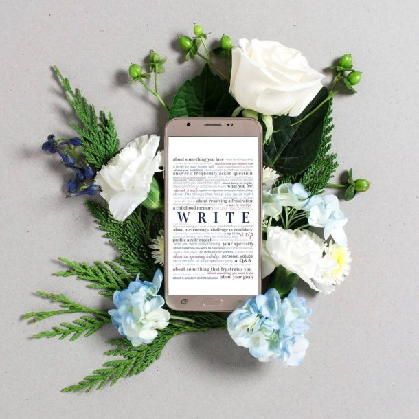 Writing prompts on mobile on flowers